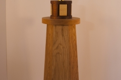 Castor - oak, ash, iroko Height 52cm width at base 17 x 17cm approx