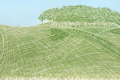 Chanctonbury Ring II: limited edition reduction linocut. Edition of 10, image measures 60 x 21cm
