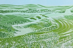 Along the South Downs Way: limited edition reduction linocut. Edition of 8, image measures 28 x 13cm SOLD OUT