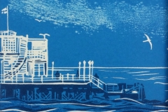 At the End of the Pier: limited edition reduction linocut. Edition of 16, image measures 14 x 15cm SOLD OUT