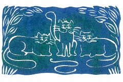 Three Cats: open edition linocut in various colourways. Image measures 14 x 8cm
