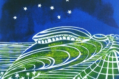 Chanctonbury Ring; Open edition linocut in various colourways. Image measures 8 x 6""