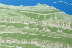 Cissbury Ring: limited edition reduction linocut. Edition of 15, image measures 40 x 13cm