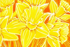 Daffodils Orange: limited edition reduction linocut. Edition of 4, image measures 6 x 4""