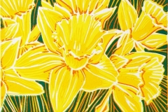 Daffodils: limited edition reduction linocut. Edition of 6, image measures 6 x 4""