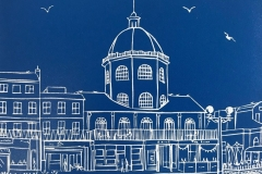 The Dome, Worthing II: limited edition linocut. Edition of 30, image measures 8 x 6""