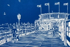 Fishing from the Pier: limited edition linocut. Edition of 30, image measures 8 x 6""