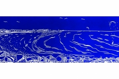Goring Beach: limited edition  linocut. Edition of 30, image measures 39 x 12cm.
