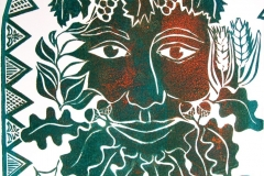Green Man: open edition linocut in various colourways. Image measures 12 x 12""