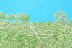 Highdown: limited edition reduction linocut. Edition of 12, image measures 60 x 21cm