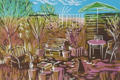 In My Garden: limited edition reduction linocut. Edition of 5, image measures 30 x 21cm