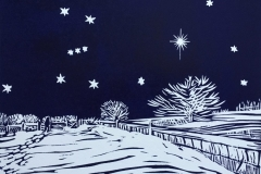 In the Bleak Midwinter: limited edition linocut. Edition of 12, image measures 8 x 6""