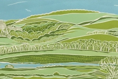 Lancing College and the South Downs: limited edition reduction linocut. Edition of 9, image measures 40 x 13cm