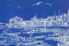 Worthing Lido: limited edition linocut. Edition of 30, image measures 8 x 6""