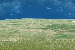 Looking East from Steyning Bowl: limited edition reduction linocut. Edition of 16, image measures 40 x 25cm