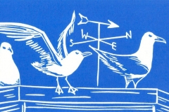 Seagulls: open edition linocut. Image measures 6 x 3.5""