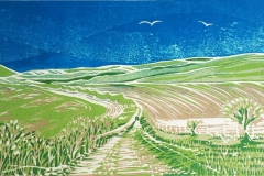 South Downs: limited edition reduction linocut. Edition of 10, image measures 28 x 14cm