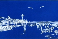 Splash Point, Worthing: limited edition linocut. Edition of 30, image measures 41 x 12cm
