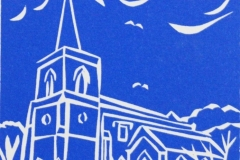 St Mary's Church, Goring-by-Sea: limited edition linocut. Edition of 18, image measures 6 x 4""
