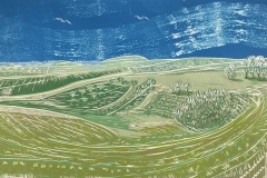 Steyning Bowl: limited edition reduction linocut. Edition of 12, image measures 40 x 25cm