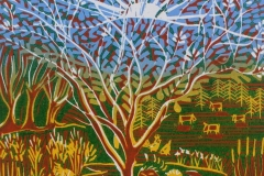 The Tree of Life: limited edition reduction linocut. Edition of 16, image measures 19 x 19cm