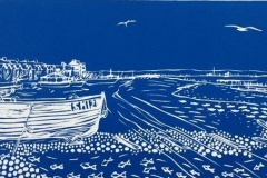 Waiting for the Tide: limited edition linocut. Edition of 30, image measures  40 x 13cm