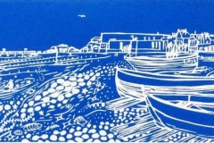 Worthing Beach and Fishing Boats: limited edition linocut. Edition of 30, image measures 41 x 13cm