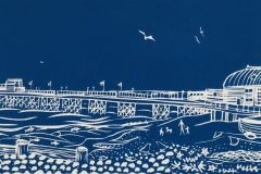 Worthing Pier II: limited edition linocut. Edition of 30, measures 39 x 12cm