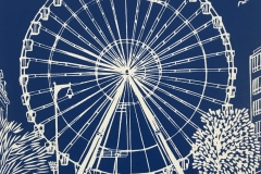 "The Worthing Wheel: limited edition linocut. Edition of 30, images measures 7"" square"